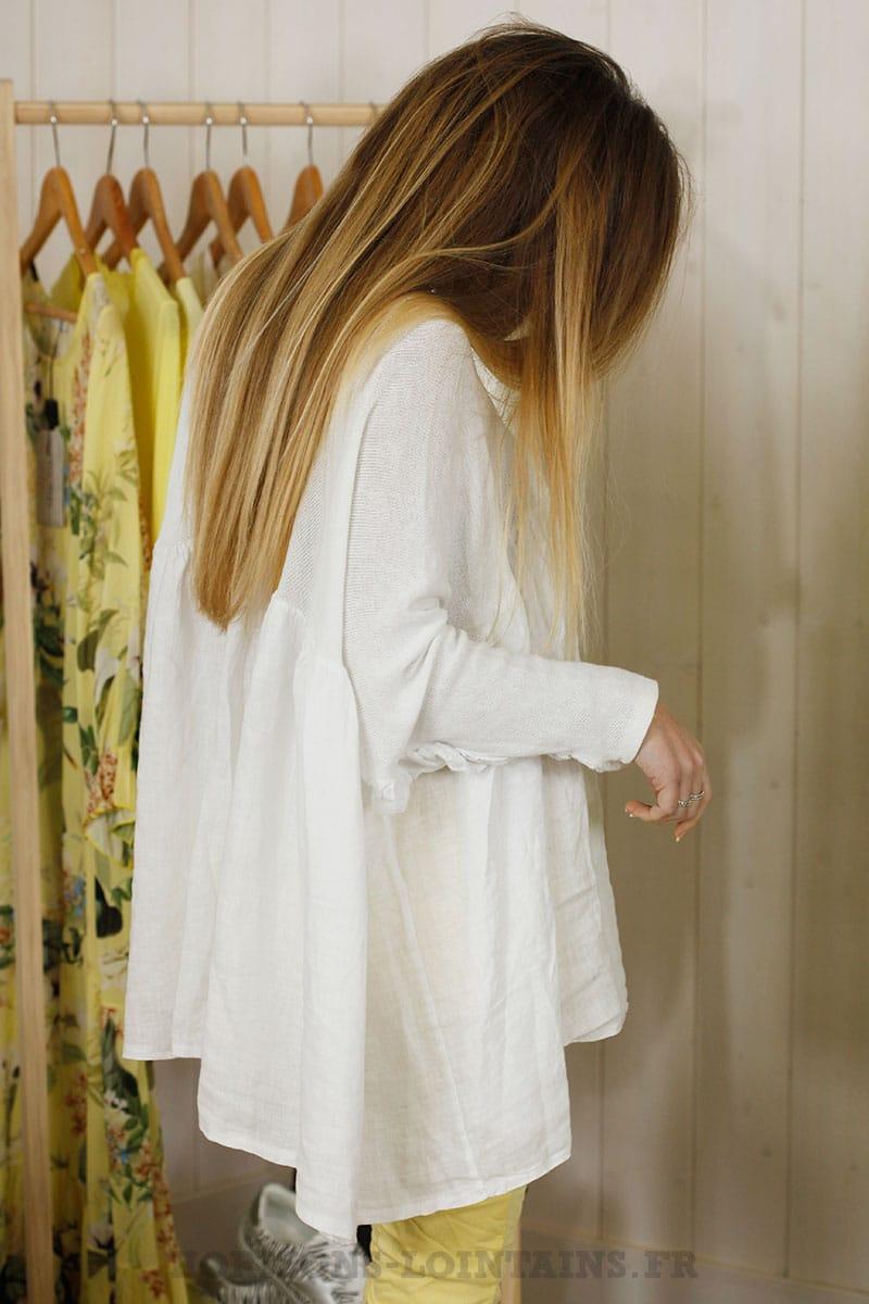 Blouse jersey et lin blanche