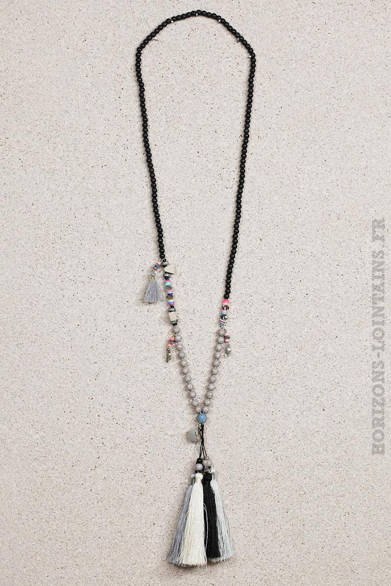 Collier perles noires trio pompons