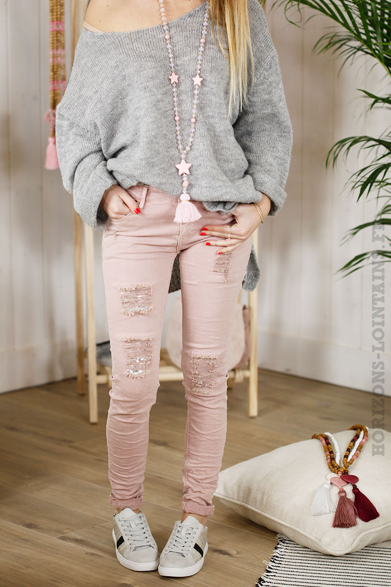 Jean slim rose poudré troué look destroy, sequins