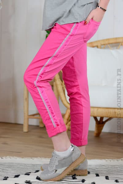 Pantalon confort lacet rose fuchsia arrière B01