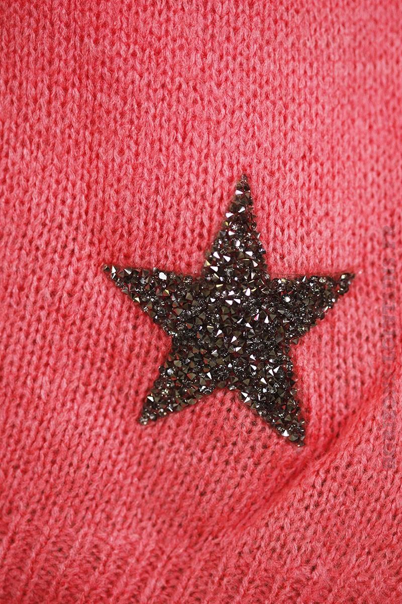 Pull corail col V, étoile brillante