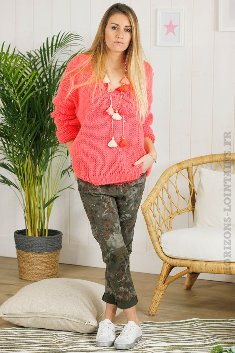 Pull grosses mailles corail, col v