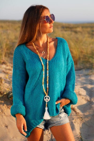 Pull-grosses-mailles-turquoise,-col-v-100