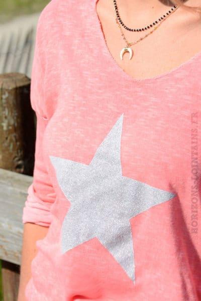 Top rose corail manches longues étoile brillante grise