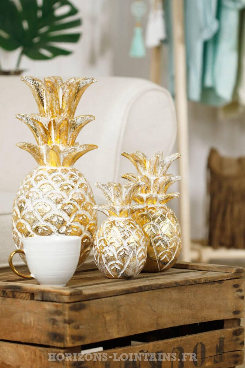ananas bois couleur doré décoration intérieure