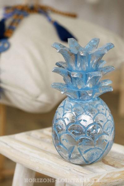 ananas moyen bois couleur bleu argenté décoration intérieure