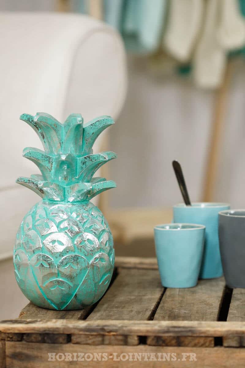 ananas moyen bois couleur vert eau turquoise argenté déco intérieure