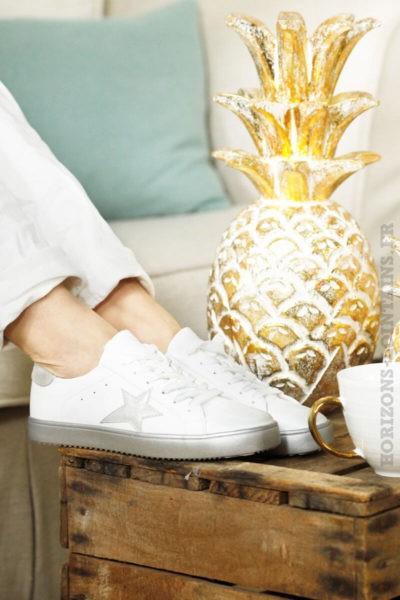 baskets vintage blanches étoile grise look stylé