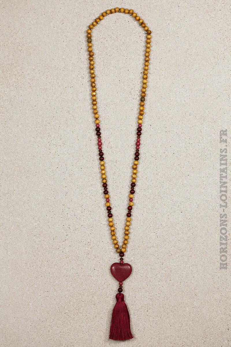 collier coeur rose violet craquelé effet marbre