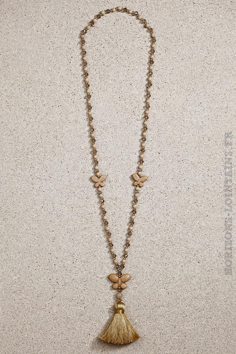 Collier perles de verre taupes et beiges papillon