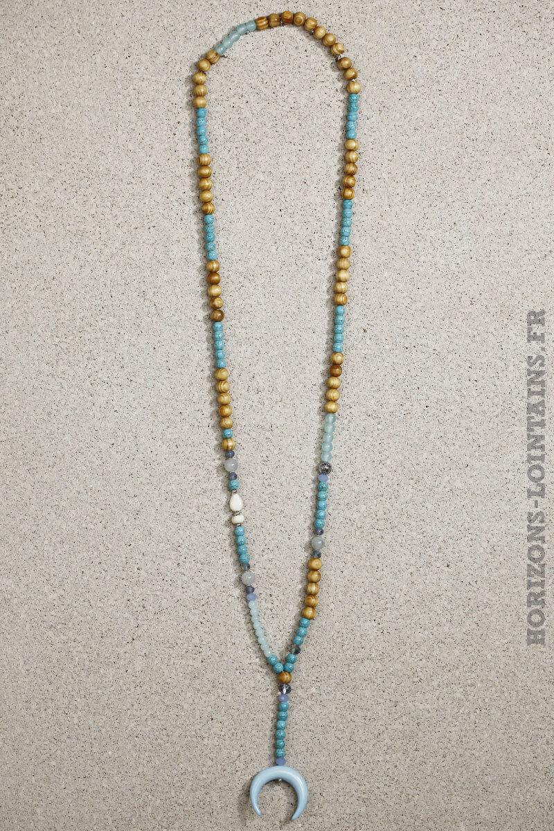 collier perles bois bleues grande corne croissant lune turquoise