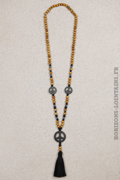 collier triple peace love perles bois pompons noir