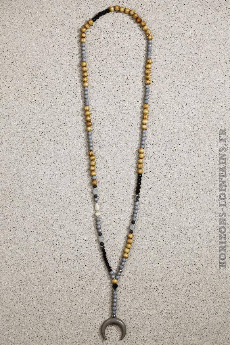 colliers perles bois grises noires corne croissant lune grise