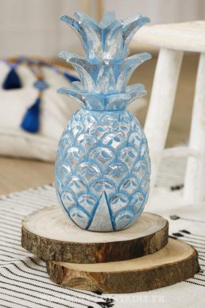 grand ananas bois couleur bleu argenté
