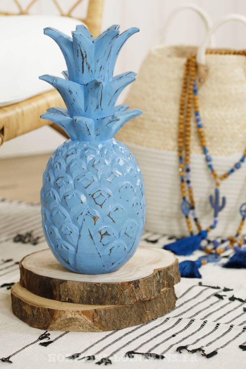 grand ananas bois couleur bleu déco intérieure