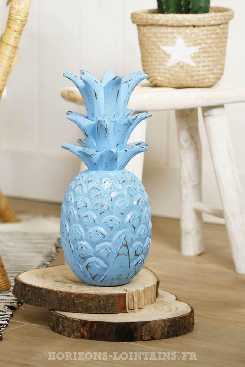 grand ananas bois couleur bleu décoration intérieure
