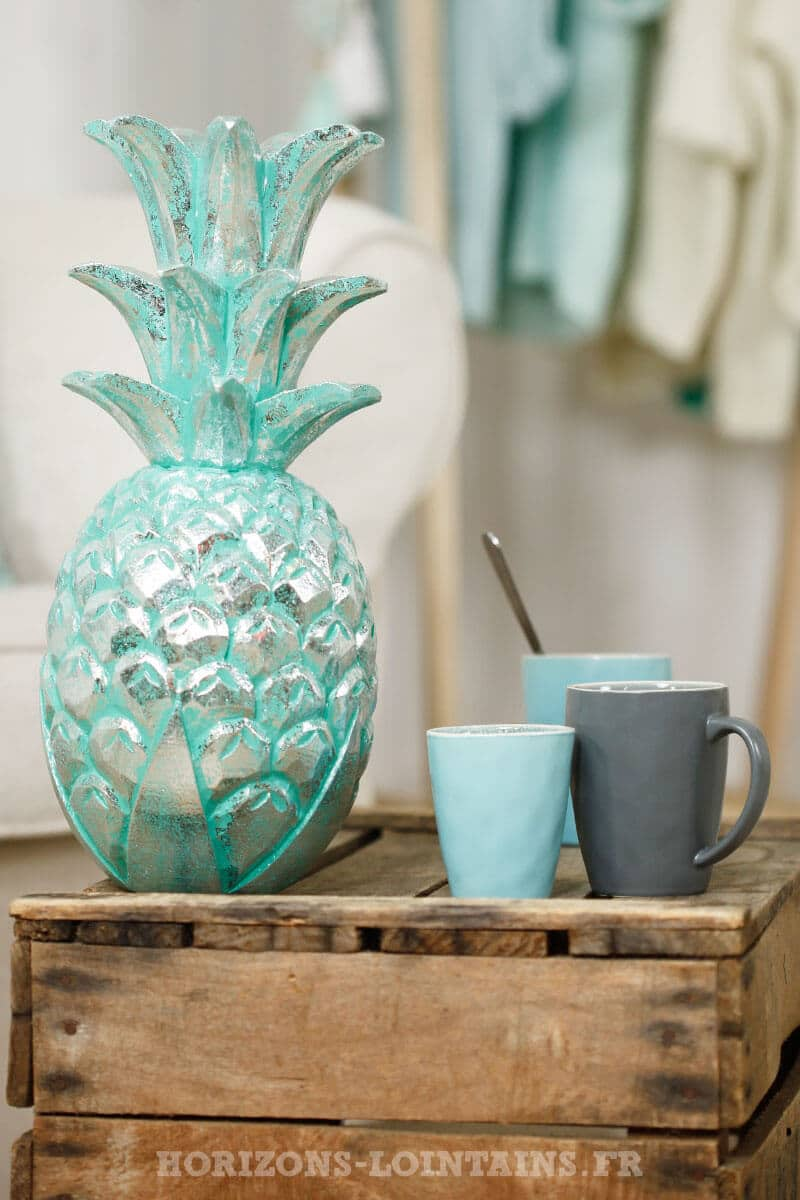 grand ananas bois couleur vert eau turquoise argenté déco intérieure