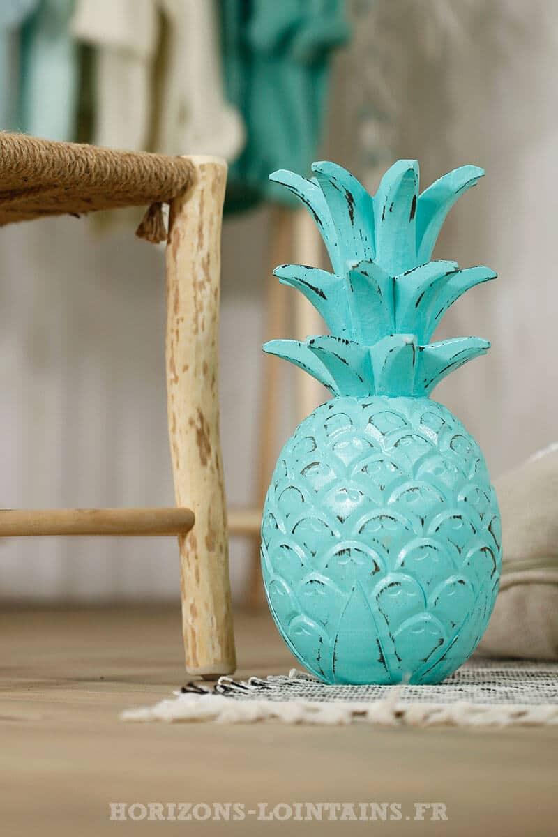 grand ananas bois couleur vert eau turquoise déco intérieure