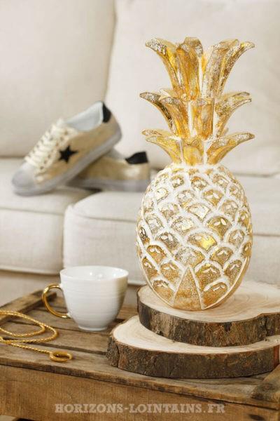 grand ananas doré cérusé brillant