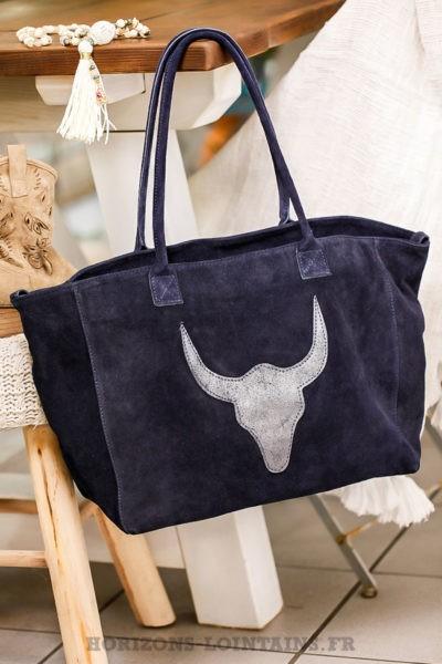 grand-sac-bleu-marine-tête-buffle-paillette-matière-cuir-velour-sacs-femme-pratique