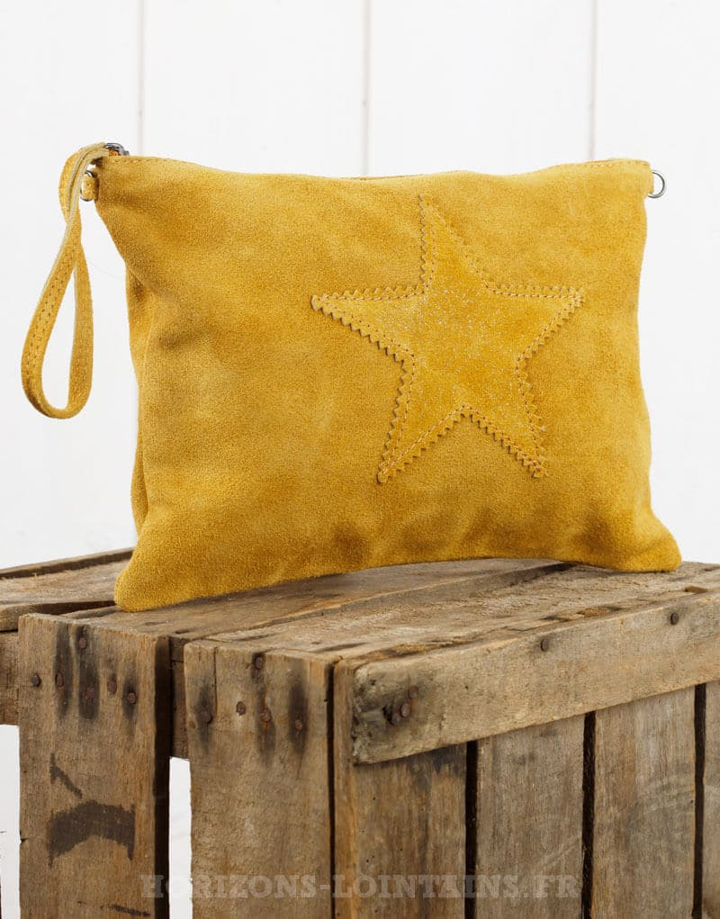 grande pochette étoile croûte cuir jaune moutarde