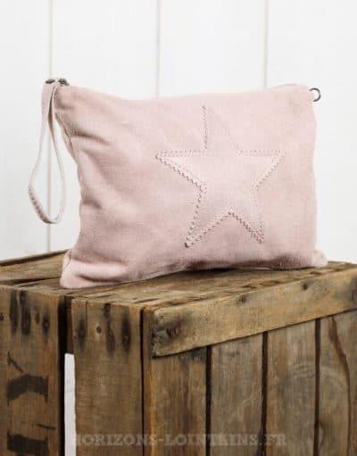 grande pochette étoile croûte cuir rose