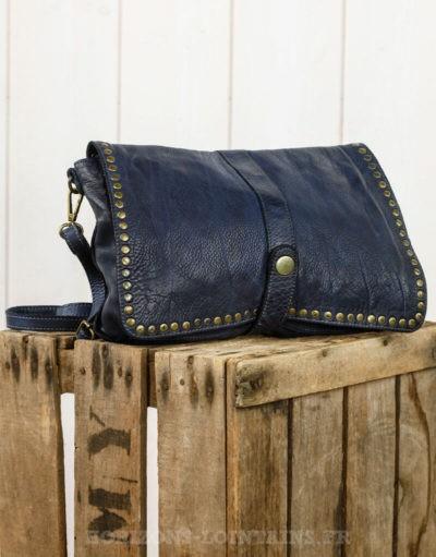 grande pochette bleu marine cuir souple look vintage