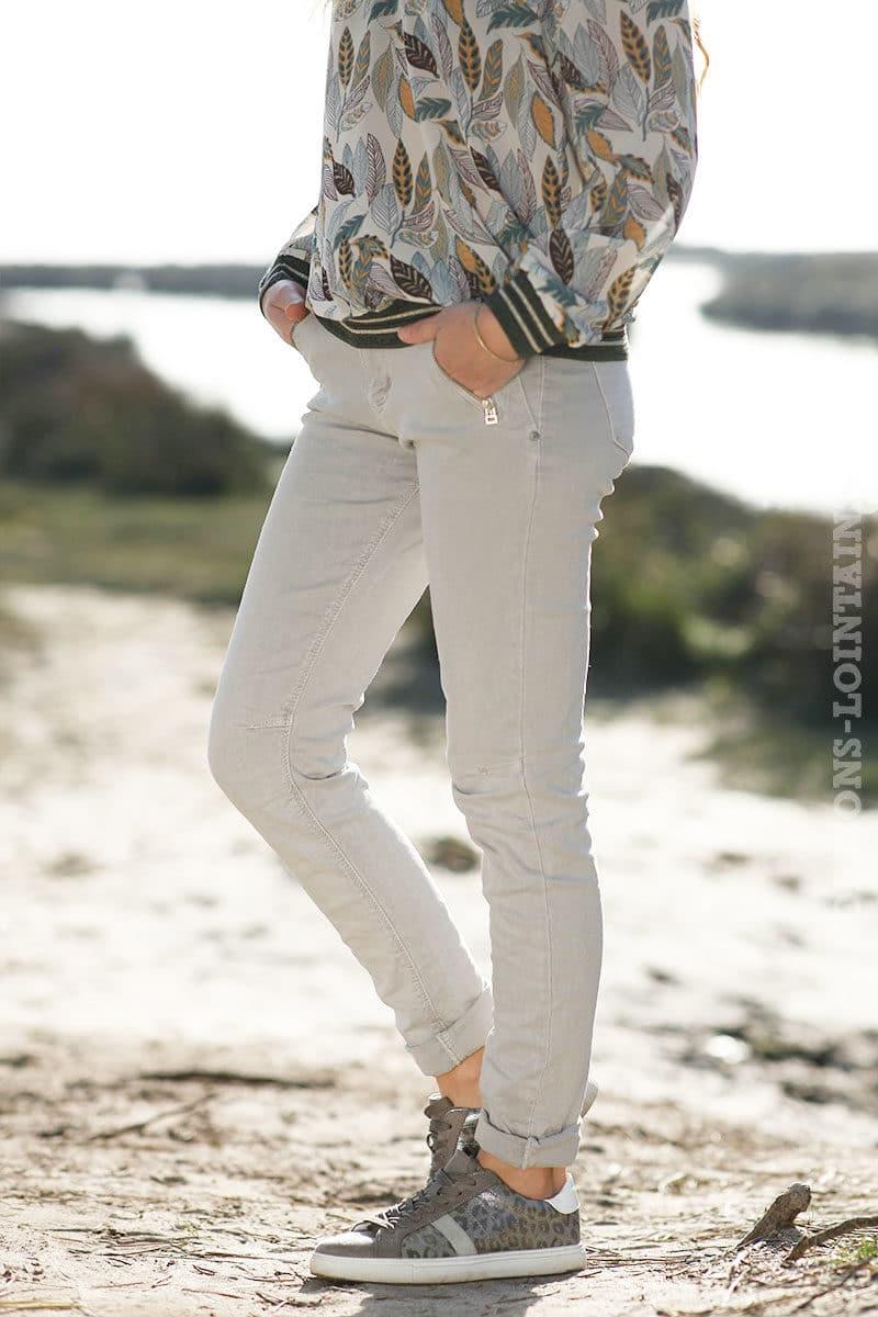 San Francisco ec63d 006cb Jean gris clair poches zip