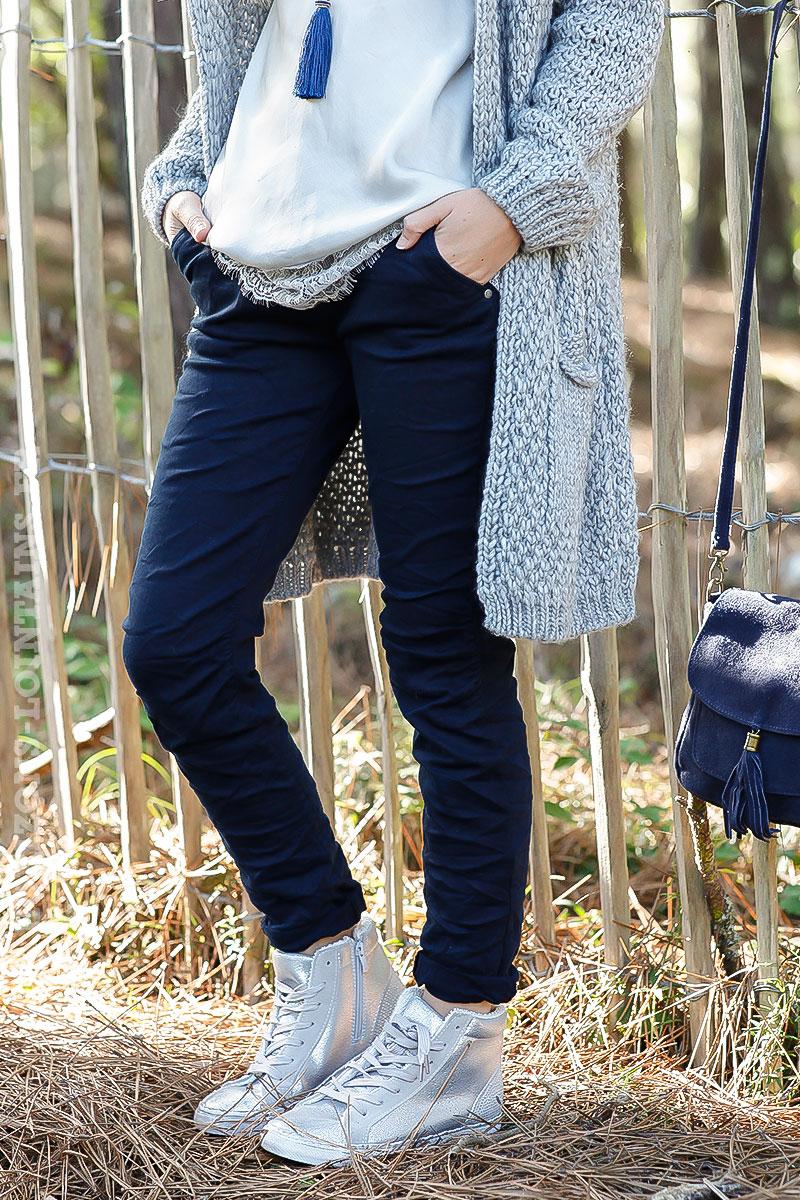 02199e2d785eb Pantalon bleu marine, ceinture lacet - Horizons Lointains