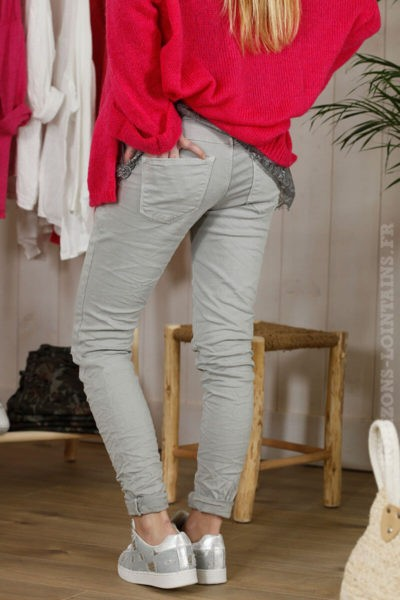 jean gris clair poches zip