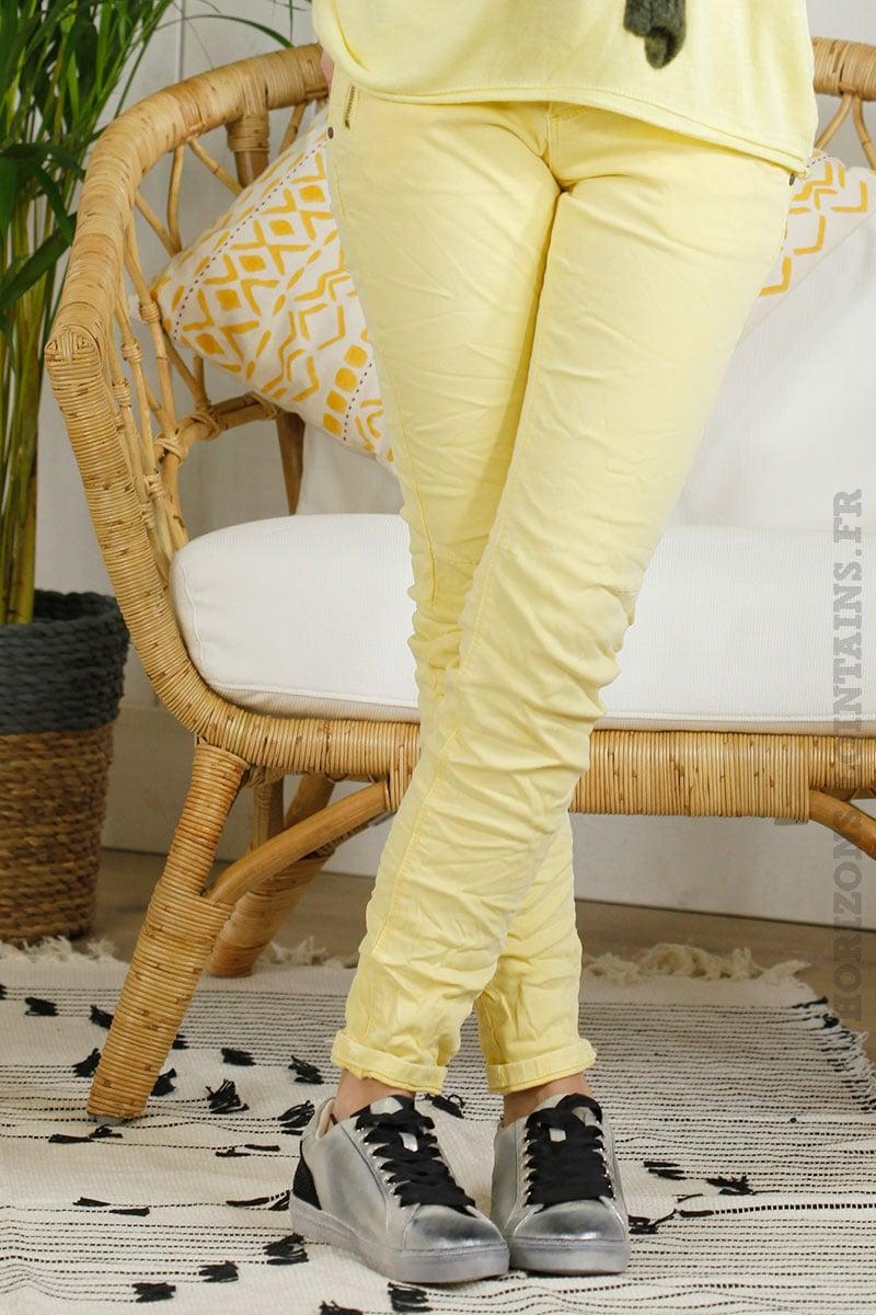 pantalon jaune poches zip