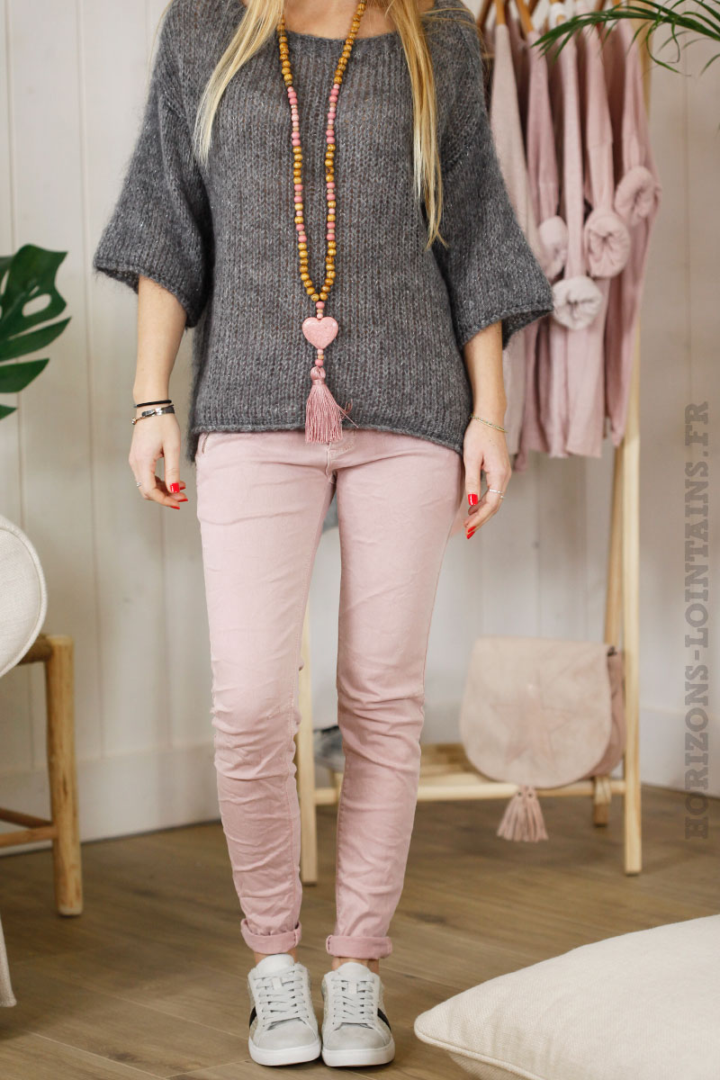 pantalon rose poudré poches zip