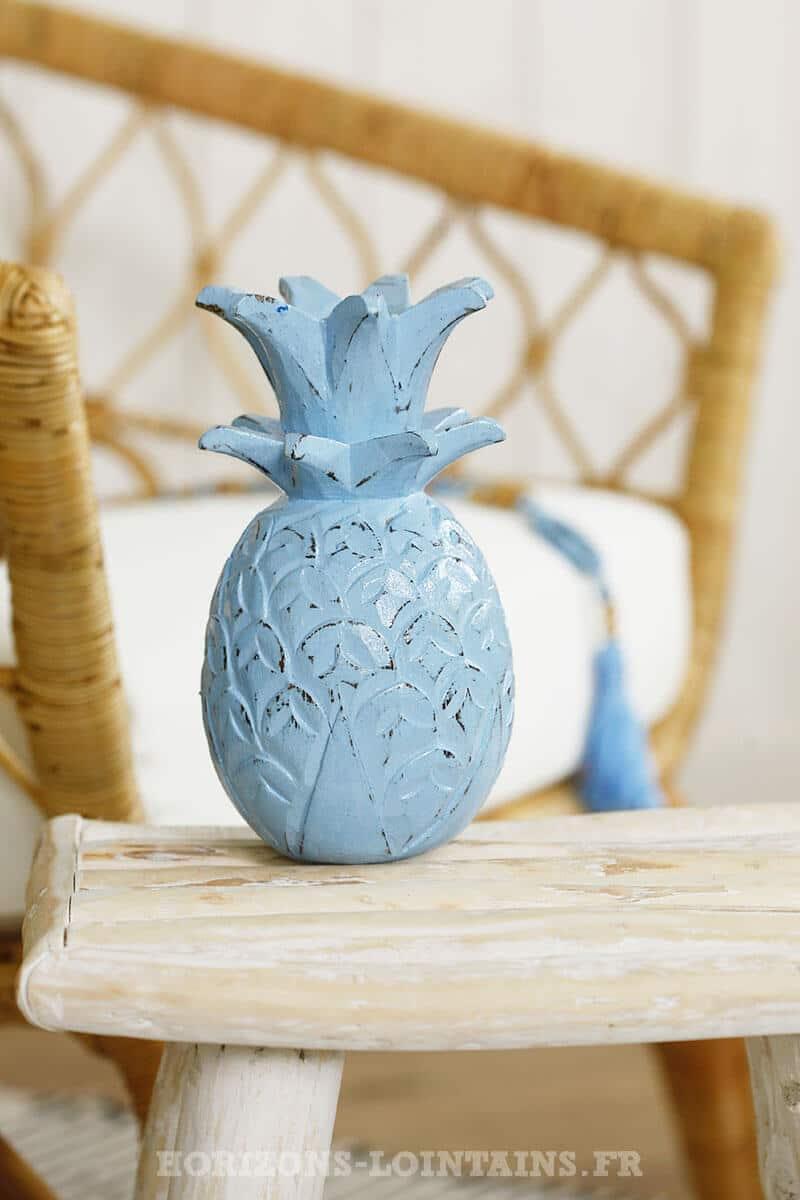 petit ananas bois couleur bleu déco intérieure