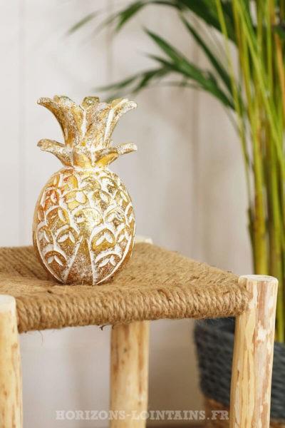 petit ananas bois doré blanc