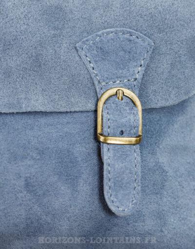 "Petit sac ""cartable"" en croûte de cuir bleu jean"