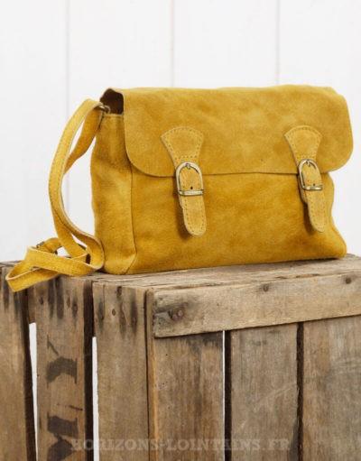 """Petit sac """"cartable"""" en croûte de cuir moutarde"""