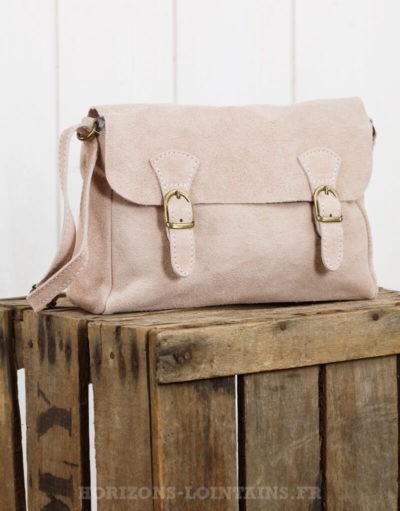 """Petit sac """"cartable"""" en croûte de cuir rose poudré"""