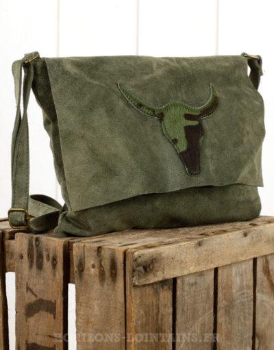 pochette tête buffle camouflage croute cuir verte kaki