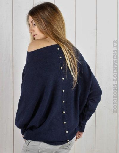 Pull bleu marine oversize, perles au dos