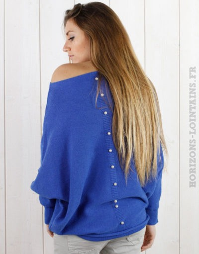 Pull bleu royal oversize, perles au dos