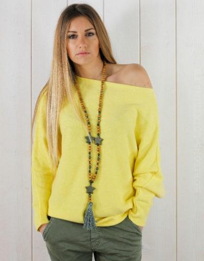 Pull jaune oversize, perles au dos