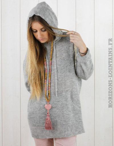 Pull à capuche gris clair
