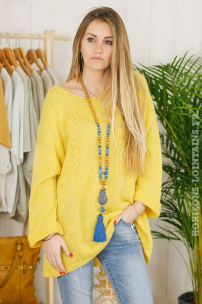 pull oversize moutarde col rond manches retournées B017