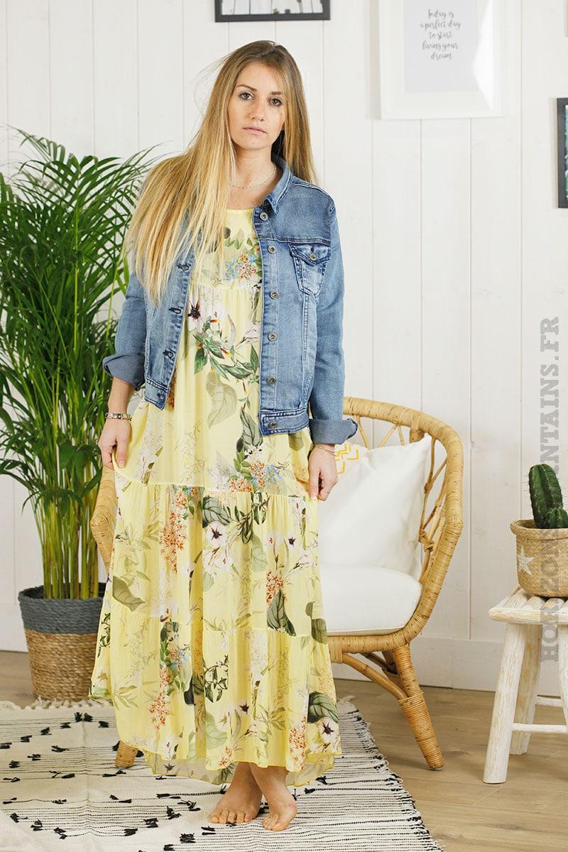 robe longue jaune fleurie
