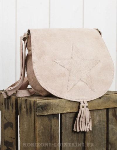 sac besace rose poudré rabat étoile croûte cuir