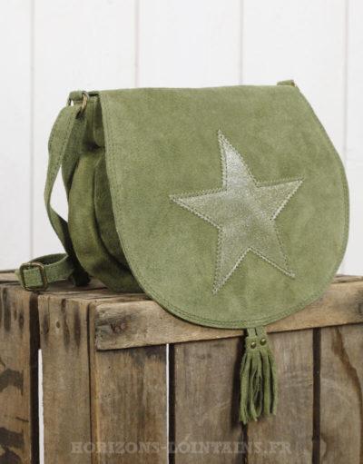 sac besace vert kaki rabat étoile croûte cuir