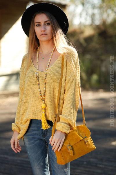 petit sac style cartable femme jaune moutarde