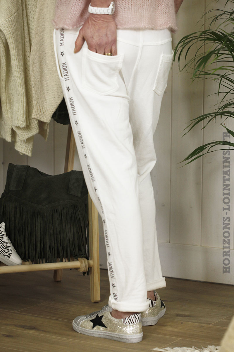 Jogging bande print blanc