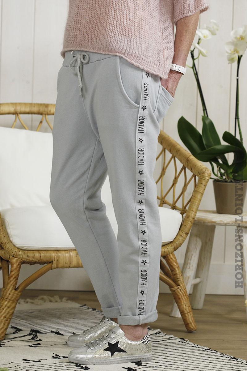 Jogging bande print gris