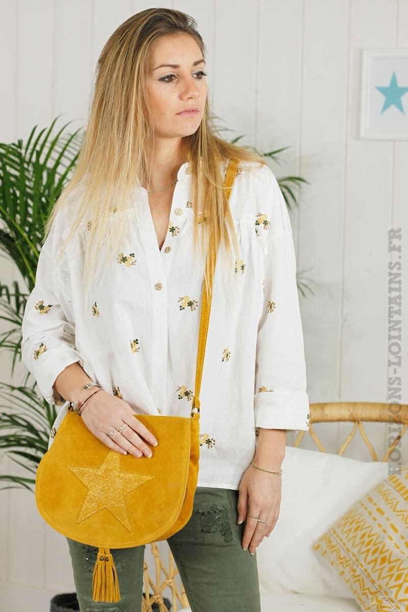Chemise blanche motifs brodés
